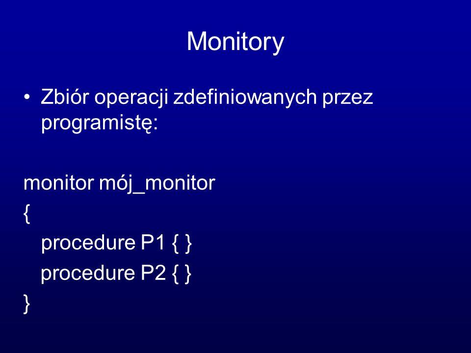 Monitory Zbiór operacji zdefiniowanych przez programistę: monitor mój_monitor { procedure P1 { } procedure P2 { } }