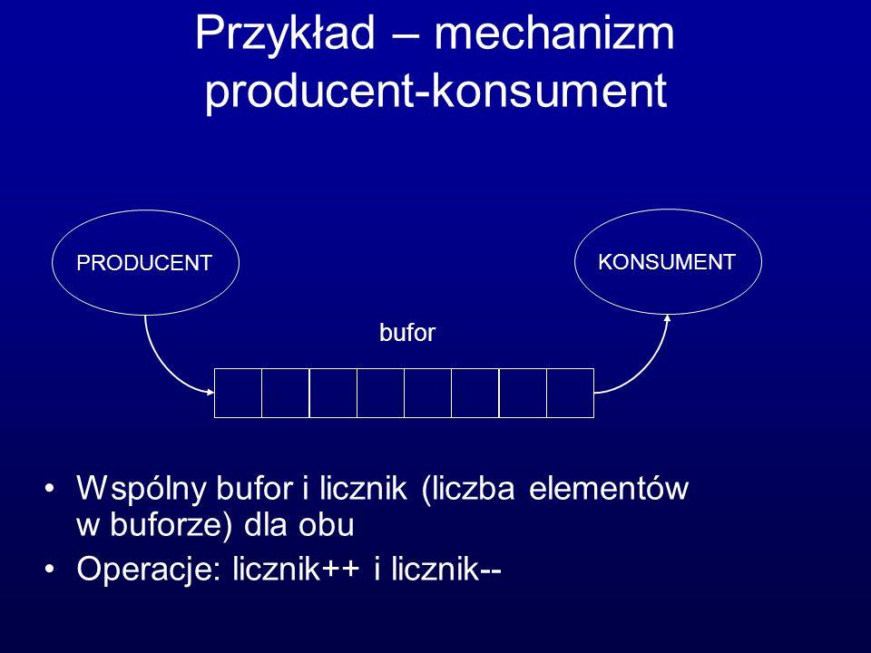 Przykład – mechanizm producent-konsument Wspólny bufor i licznik (liczba elementów w buforze) dla obu Operacje: licznik++ i licznik-- PRODUCENT KONSUM