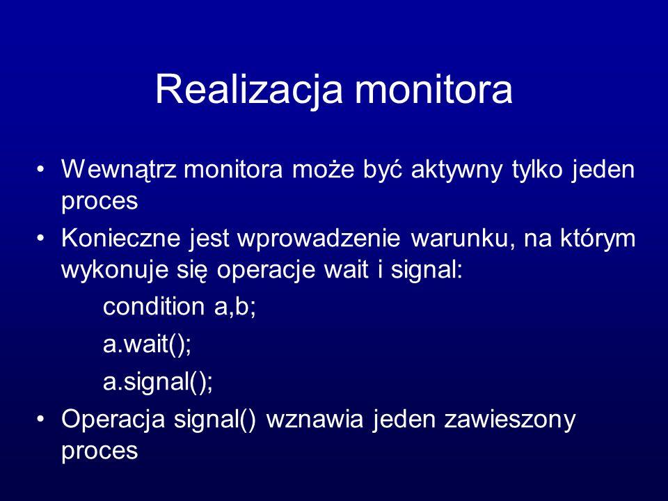 Realizacja monitora Wewnątrz monitora może być aktywny tylko jeden proces Konieczne jest wprowadzenie warunku, na którym wykonuje się operacje wait i