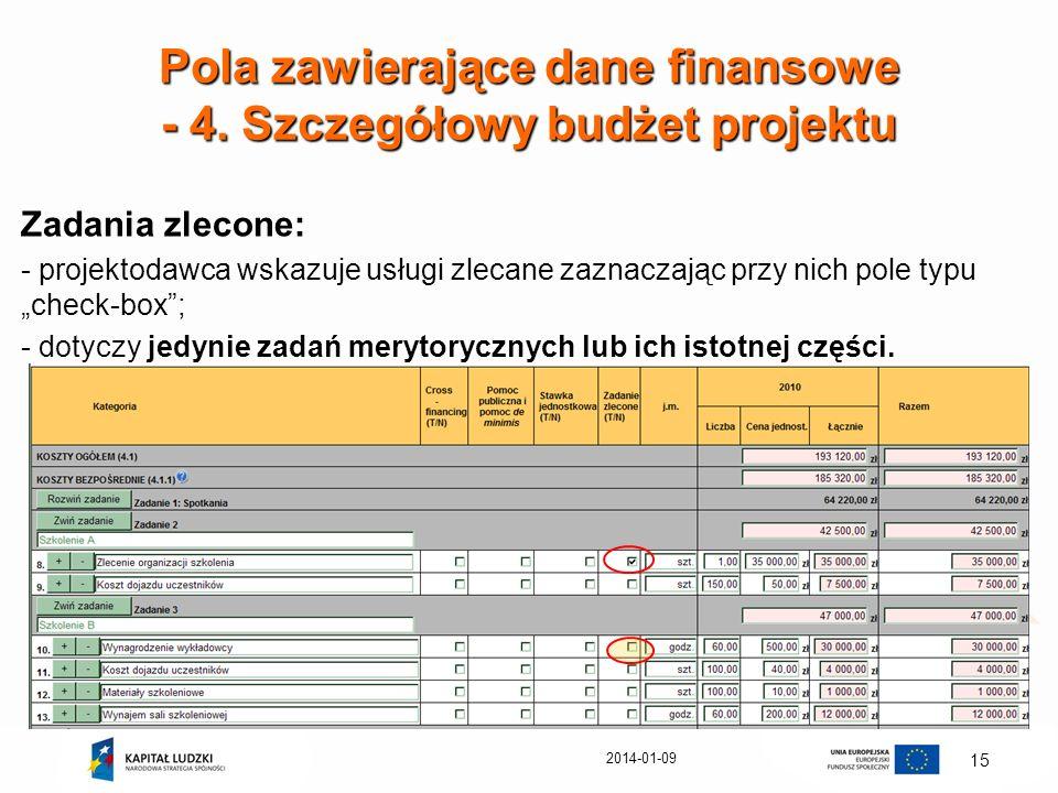 2014-01-09 15 Pola zawierające dane finansowe - 4. Szczegółowy budżet projektu Zadania zlecone: - projektodawca wskazuje usługi zlecane zaznaczając pr
