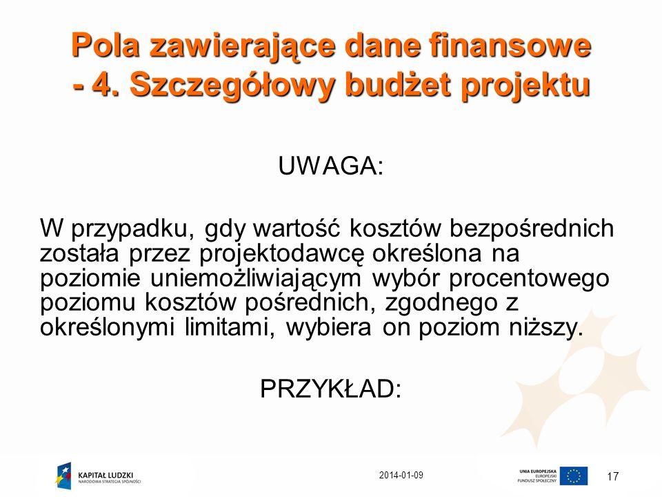 2014-01-09 17 Pola zawierające dane finansowe - 4. Szczegółowy budżet projektu UWAGA: W przypadku, gdy wartość kosztów bezpośrednich została przez pro