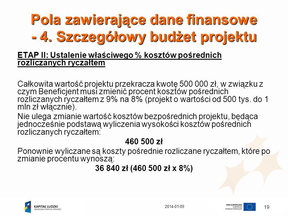 2014-01-09 19 Pola zawierające dane finansowe - 4. Szczegółowy budżet projektu ETAP II: Ustalenie właściwego % kosztów pośrednich rozliczanych ryczałt