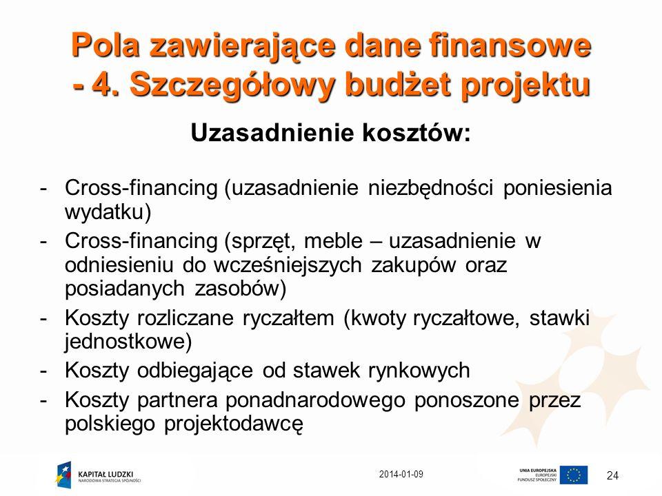 2014-01-09 24 Pola zawierające dane finansowe - 4. Szczegółowy budżet projektu Uzasadnienie kosztów: -Cross-financing (uzasadnienie niezbędności ponie