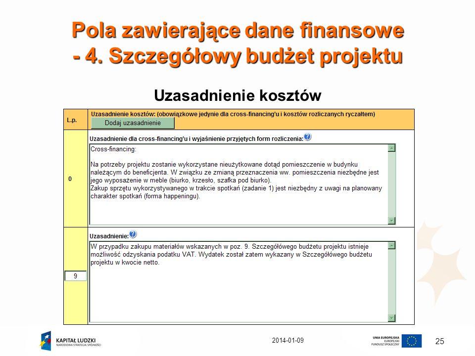 2014-01-09 25 Pola zawierające dane finansowe - 4. Szczegółowy budżet projektu Uzasadnienie kosztów
