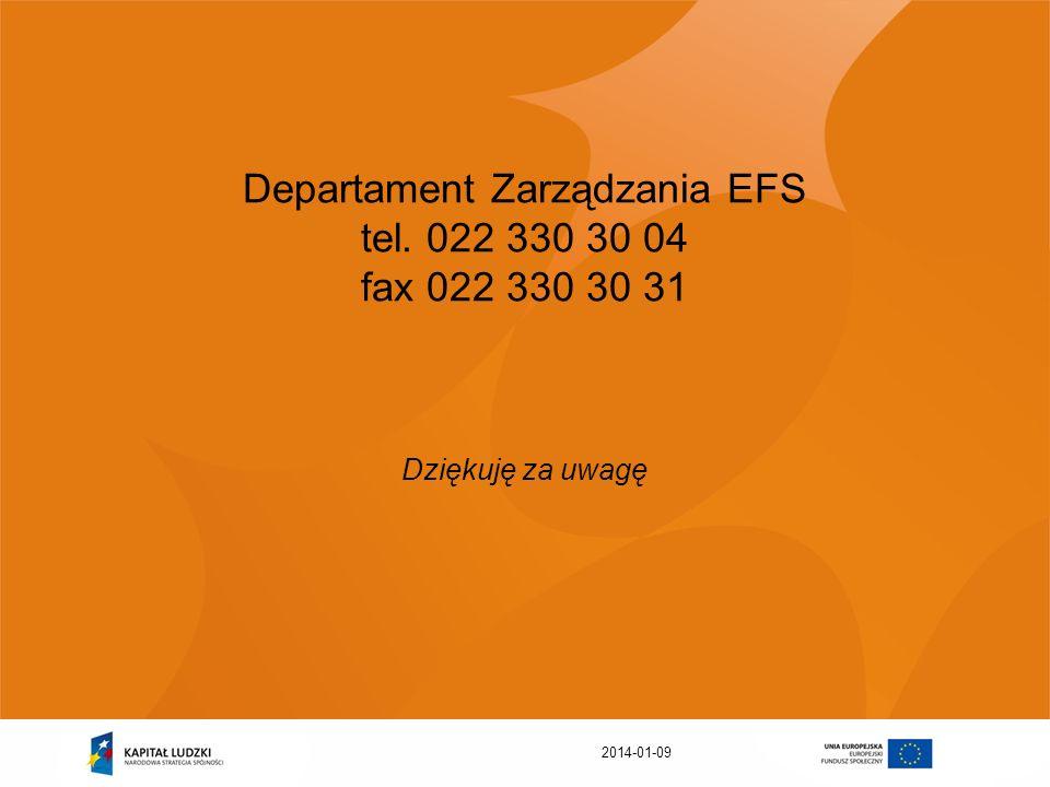 2014-01-09 Departament Zarządzania EFS tel. 022 330 30 04 fax 022 330 30 31 Dziękuję za uwagę