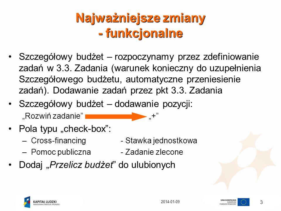 2014-01-09 3 Najważniejsze zmiany - funkcjonalne Szczegółowy budżet – rozpoczynamy przez zdefiniowanie zadań w 3.3. Zadania (warunek konieczny do uzup