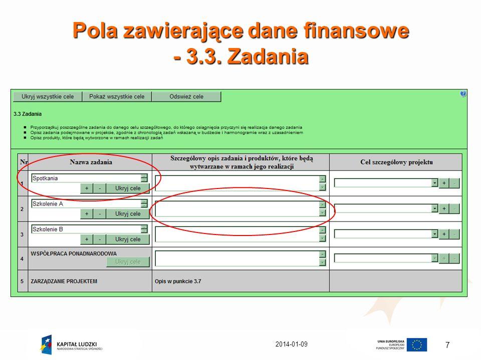 2014-01-09 7 Pola zawierające dane finansowe - 3.3. Zadania