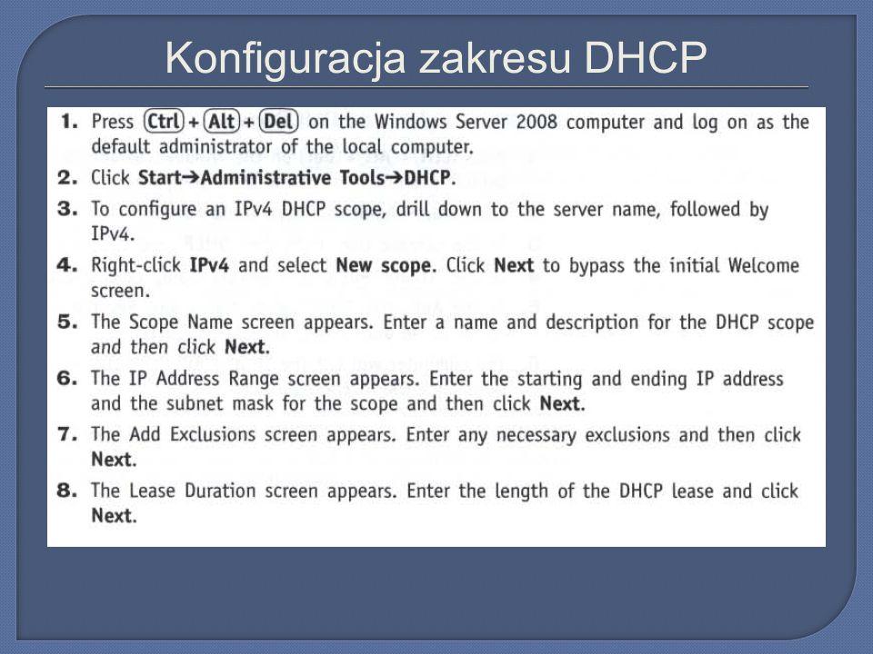Konfiguracja zakresu DHCP