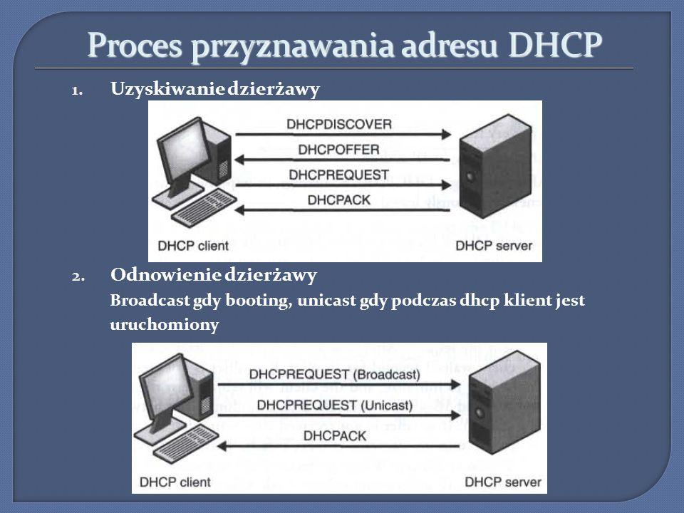 Proces przyznawania adresu DHCP 1. Uzyskiwanie dzierżawy 2. Odnowienie dzierżawy Broadcast gdy booting, unicast gdy podczas dhcp klient jest uruchomio