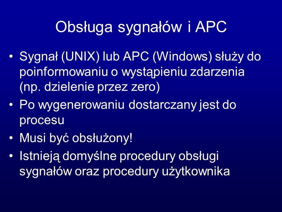 Obsługa sygnałów i APC Sygnał (UNIX) lub APC (Windows) służy do poinformowaniu o wystąpieniu zdarzenia (np. dzielenie przez zero) Po wygenerowaniu dos