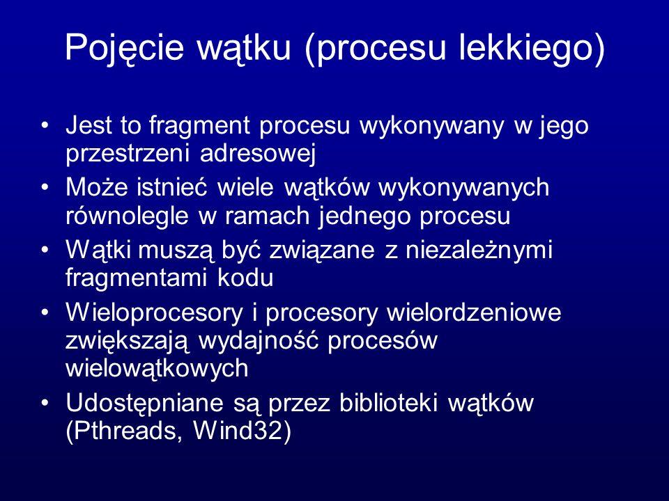 Wątki w systemie Windows Udostępniane przez interfejs Win32 API Implementacja odwzorowania jeden-na- jeden oraz wiele na wiele przy pomocy biblioteki włókien Składowe wątku: ID, zbiór rejestrów, stos użytkownika, stos jądrowy, obszar pamięci prywatnej (kontekst wątku)