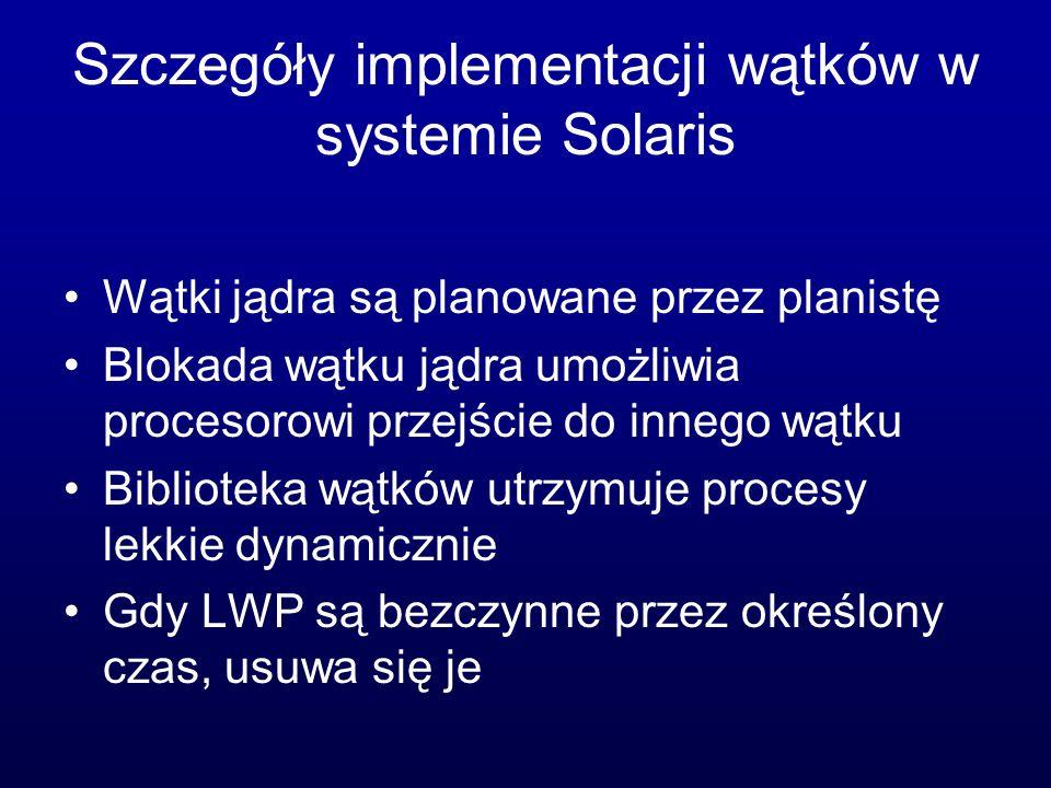 Szczegóły implementacji wątków w systemie Solaris Wątki jądra są planowane przez planistę Blokada wątku jądra umożliwia procesorowi przejście do inneg