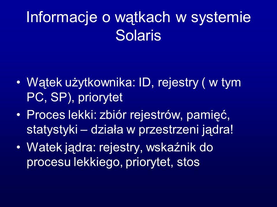 Informacje o wątkach w systemie Solaris Wątek użytkownika: ID, rejestry ( w tym PC, SP), priorytet Proces lekki: zbiór rejestrów, pamięć, statystyki –