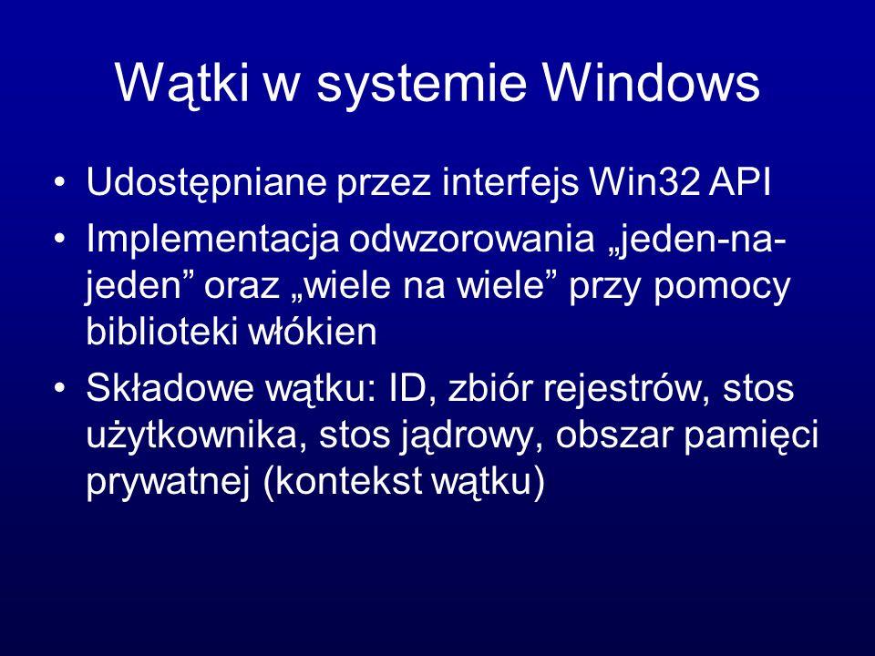 Wątki w systemie Windows Udostępniane przez interfejs Win32 API Implementacja odwzorowania jeden-na- jeden oraz wiele na wiele przy pomocy biblioteki