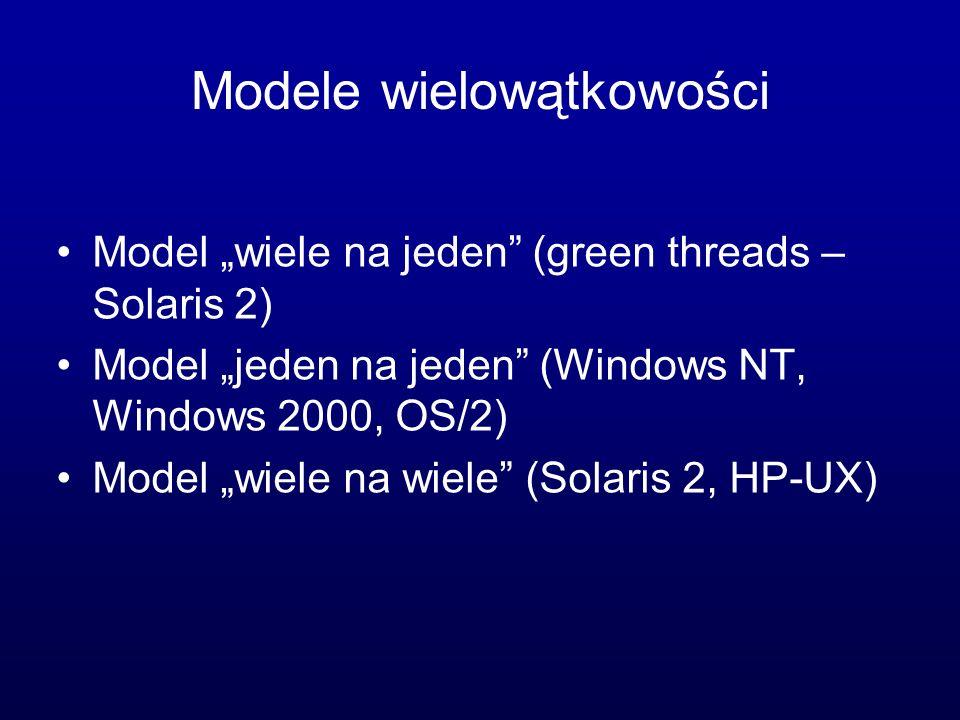 Modele wielowątkowości Model wiele na jeden (green threads – Solaris 2) Model jeden na jeden (Windows NT, Windows 2000, OS/2) Model wiele na wiele (So