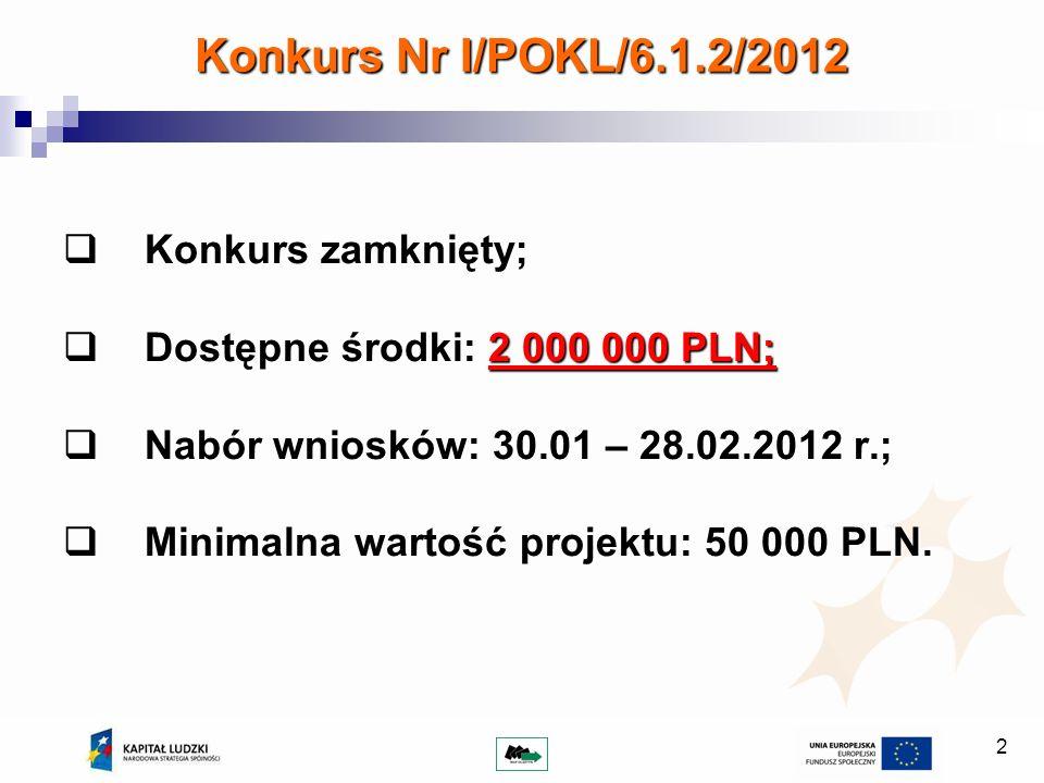 2 Konkurs Nr I/POKL/6.1.2/2012 Konkurs zamknięty; Konkurs zamknięty; Dostępne środki: 2 000 000 PLN; Dostępne środki: 2 000 000 PLN; Nabór wniosków: 30.01 – 28.02.2012 r.; Nabór wniosków: 30.01 – 28.02.2012 r.; Minimalna wartość projektu: 50 000 PLN.