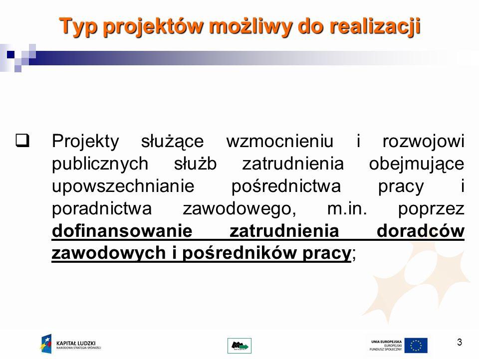 3 Typ projektów możliwy do realizacji Projekty służące wzmocnieniu i rozwojowi publicznych służb zatrudnienia obejmujące upowszechnianie pośrednictwa pracy i poradnictwa zawodowego, m.in.