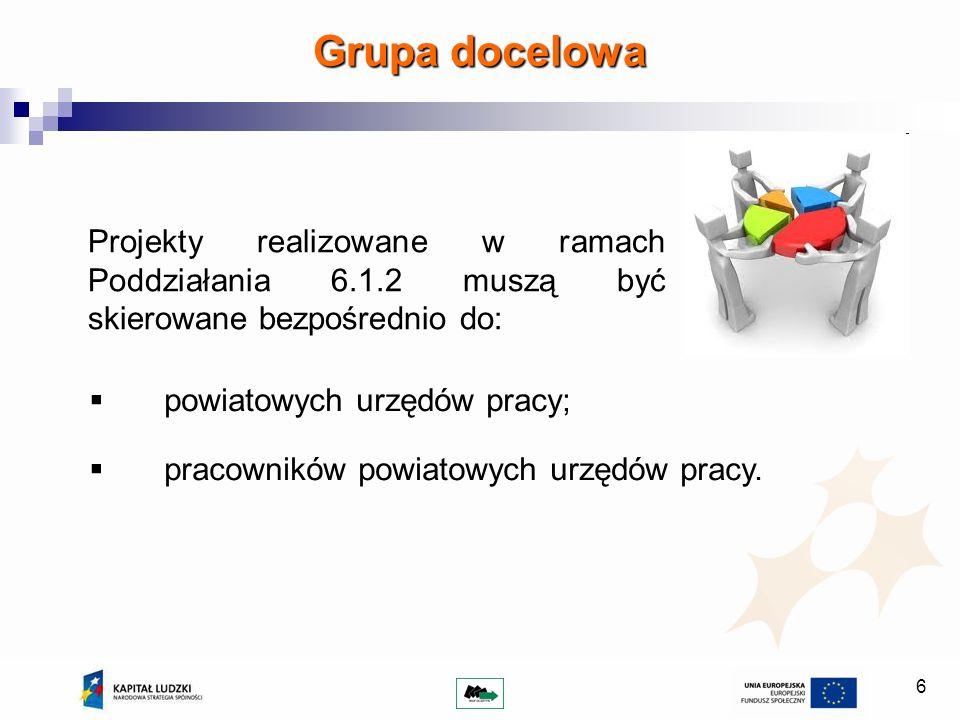 6 Grupa docelowa Projekty realizowane w ramach Poddziałania 6.1.2 muszą być skierowane bezpośrednio do: powiatowych urzędów pracy; pracowników powiatowych urzędów pracy.
