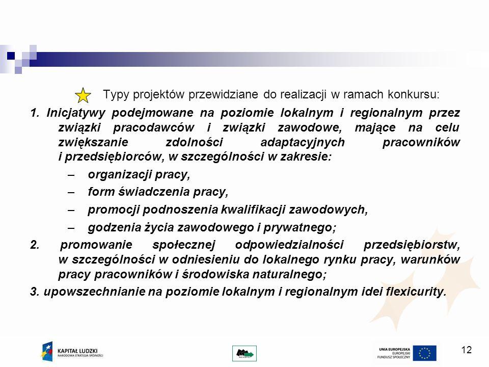 12 Typy projektów przewidziane do realizacji w ramach konkursu: 1.