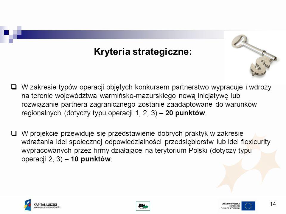 14 Kryteria strategiczne: W zakresie typów operacji objętych konkursem partnerstwo wypracuje i wdroży na terenie województwa warmińsko-mazurskiego nową inicjatywę lub rozwiązanie partnera zagranicznego zostanie zaadaptowane do warunków regionalnych (dotyczy typu operacji 1, 2, 3) – 20 punktów.