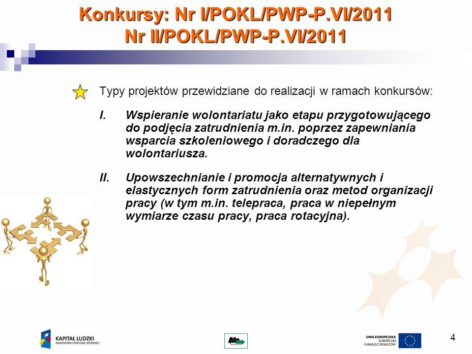 4 Konkursy: Nr I/POKL/PWP-P.VI/2011 Nr II/POKL/PWP-P.VI/2011 Typy projektów przewidziane do realizacji w ramach konkursów: I.Wspieranie wolontariatu jako etapu przygotowującego do podjęcia zatrudnienia m.in.
