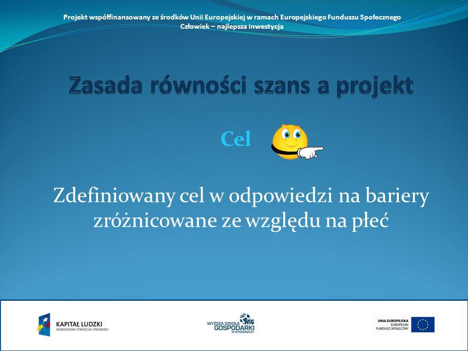 Zdefiniowany cel w odpowiedzi na bariery zróżnicowane ze względu na płeć Cel Projekt współfinansowany ze środków Unii Europejskiej w ramach Europejskiego Funduszu Społecznego Człowiek – najlepsza inwestycja