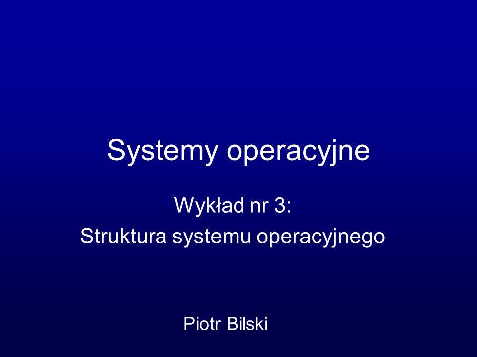 Składowe systemu operacyjnego Moduł zarządzania procesami Moduł zarządzania pamięcią operacyjną Moduł zarządzania plikami Moduł zarządzania systemem I/O Moduł zarządzania pamięcią pomocniczą Moduł zarządzania interfejsami sieciowymi System ochrony Interpreter poleceń