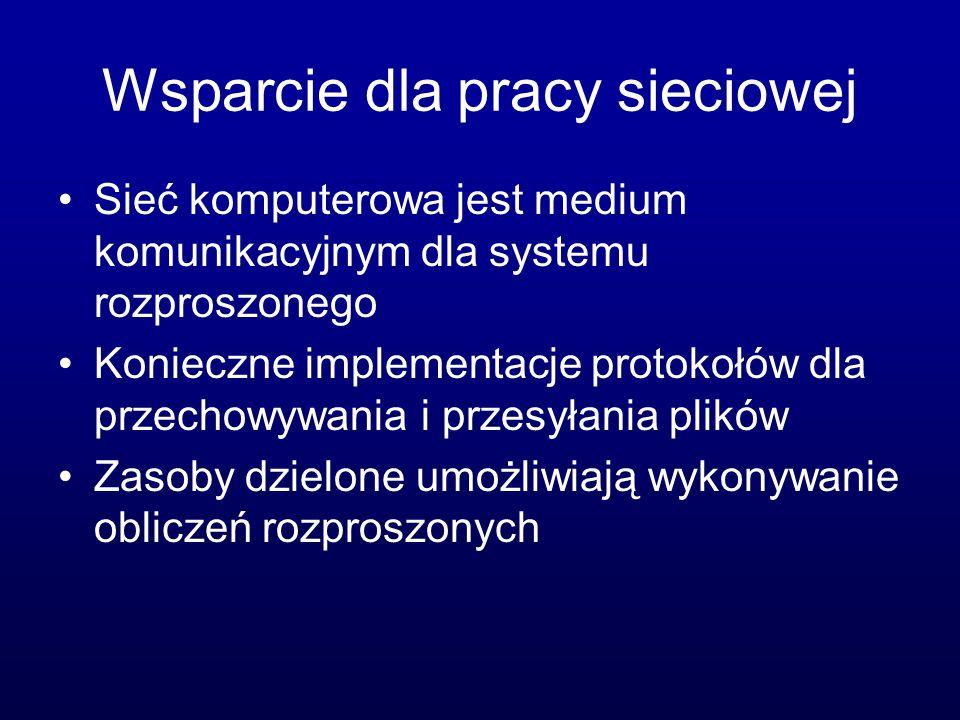 Wsparcie dla pracy sieciowej Sieć komputerowa jest medium komunikacyjnym dla systemu rozproszonego Konieczne implementacje protokołów dla przechowywania i przesyłania plików Zasoby dzielone umożliwiają wykonywanie obliczeń rozproszonych