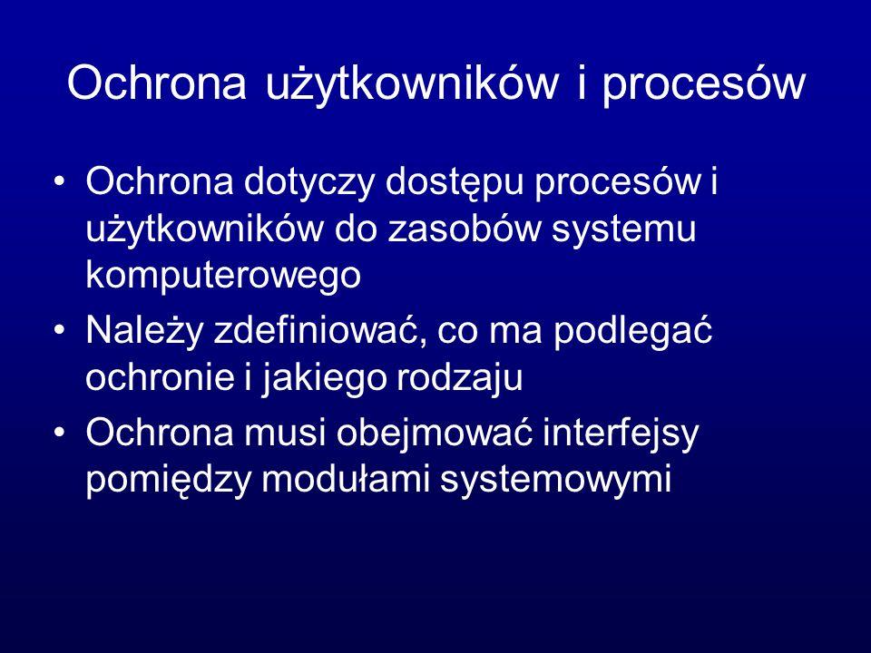 Ochrona użytkowników i procesów Ochrona dotyczy dostępu procesów i użytkowników do zasobów systemu komputerowego Należy zdefiniować, co ma podlegać ochronie i jakiego rodzaju Ochrona musi obejmować interfejsy pomiędzy modułami systemowymi