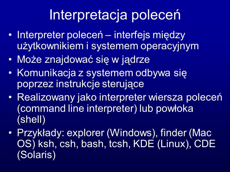 Interpretacja poleceń Interpreter poleceń – interfejs między użytkownikiem i systemem operacyjnym Może znajdować się w jądrze Komunikacja z systemem odbywa się poprzez instrukcje sterujące Realizowany jako interpreter wiersza poleceń (command line interpreter) lub powłoka (shell) Przykłady: explorer (Windows), finder (Mac OS) ksh, csh, bash, tcsh, KDE (Linux), CDE (Solaris)