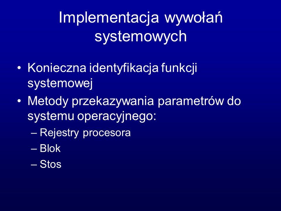 Implementacja wywołań systemowych Konieczna identyfikacja funkcji systemowej Metody przekazywania parametrów do systemu operacyjnego: –Rejestry procesora –Blok –Stos