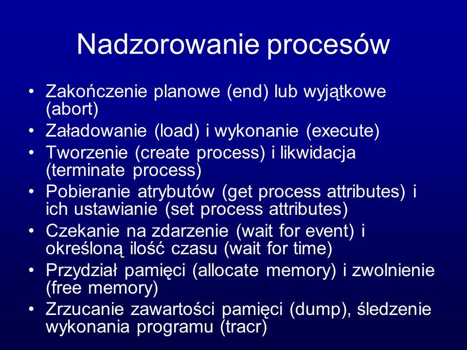 Nadzorowanie procesów Zakończenie planowe (end) lub wyjątkowe (abort) Załadowanie (load) i wykonanie (execute) Tworzenie (create process) i likwidacja (terminate process) Pobieranie atrybutów (get process attributes) i ich ustawianie (set process attributes) Czekanie na zdarzenie (wait for event) i określoną ilość czasu (wait for time) Przydział pamięci (allocate memory) i zwolnienie (free memory) Zrzucanie zawartości pamięci (dump), śledzenie wykonania programu (tracr)