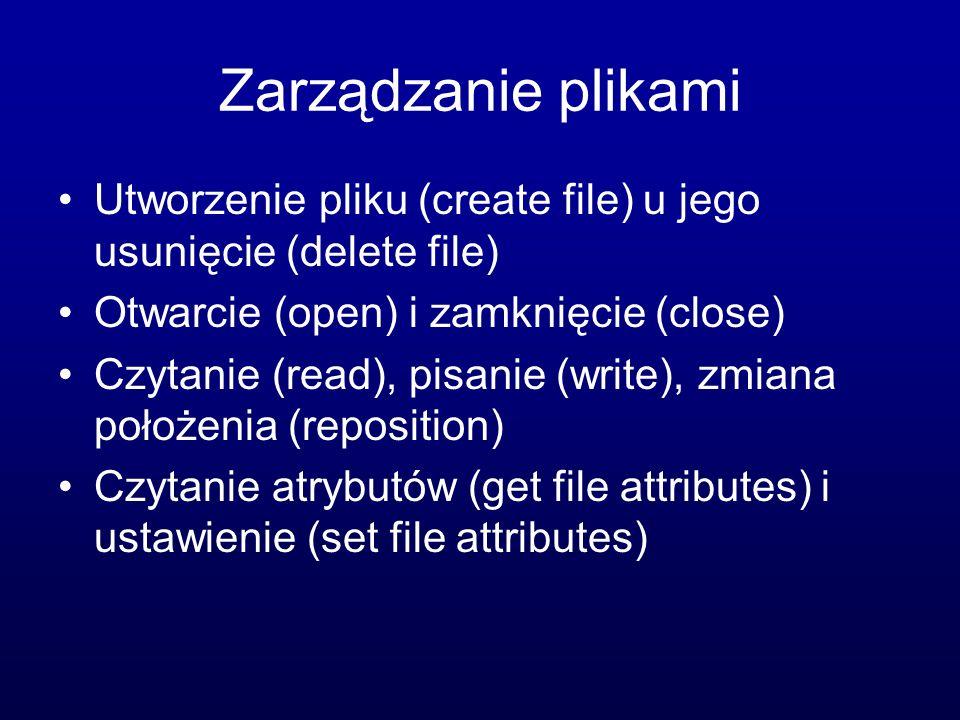 Zarządzanie plikami Utworzenie pliku (create file) u jego usunięcie (delete file) Otwarcie (open) i zamknięcie (close) Czytanie (read), pisanie (write), zmiana położenia (reposition) Czytanie atrybutów (get file attributes) i ustawienie (set file attributes)