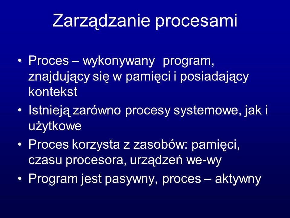 Zarządzanie procesami Proces – wykonywany program, znajdujący się w pamięci i posiadający kontekst Istnieją zarówno procesy systemowe, jak i użytkowe Proces korzysta z zasobów: pamięci, czasu procesora, urządzeń we-wy Program jest pasywny, proces – aktywny