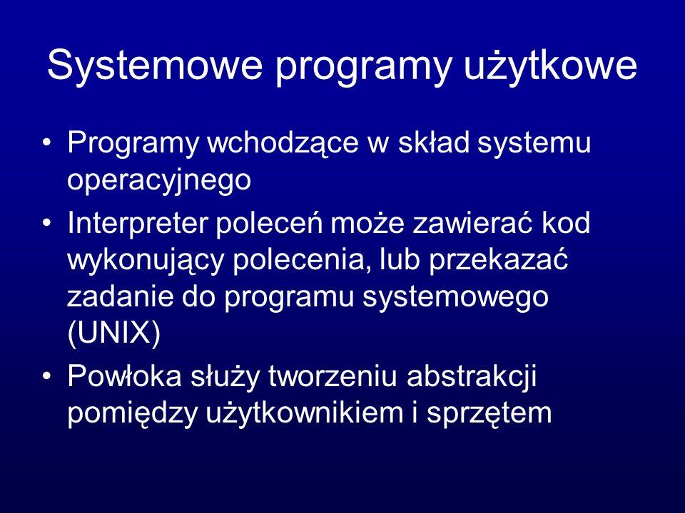 Systemowe programy użytkowe Programy wchodzące w skład systemu operacyjnego Interpreter poleceń może zawierać kod wykonujący polecenia, lub przekazać zadanie do programu systemowego (UNIX) Powłoka służy tworzeniu abstrakcji pomiędzy użytkownikiem i sprzętem