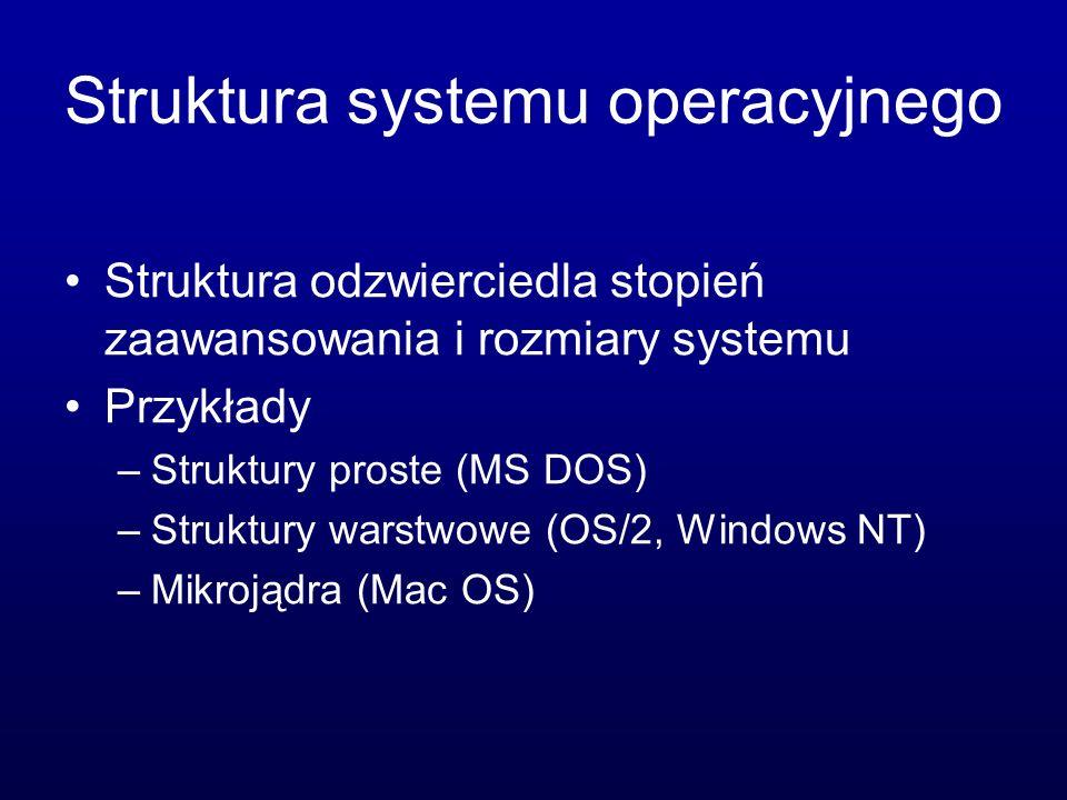 Struktura systemu operacyjnego Struktura odzwierciedla stopień zaawansowania i rozmiary systemu Przykłady –Struktury proste (MS DOS) –Struktury warstwowe (OS/2, Windows NT) –Mikrojądra (Mac OS)