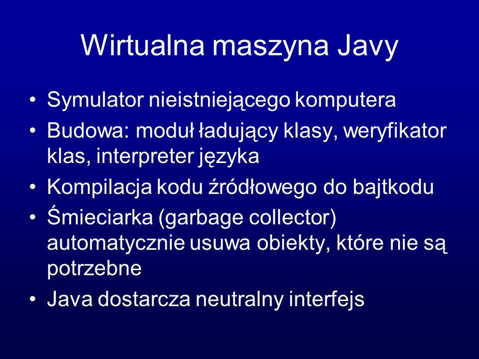 Wirtualna maszyna Javy Symulator nieistniejącego komputera Budowa: moduł ładujący klasy, weryfikator klas, interpreter języka Kompilacja kodu źródłowego do bajtkodu Śmieciarka (garbage collector) automatycznie usuwa obiekty, które nie są potrzebne Java dostarcza neutralny interfejs