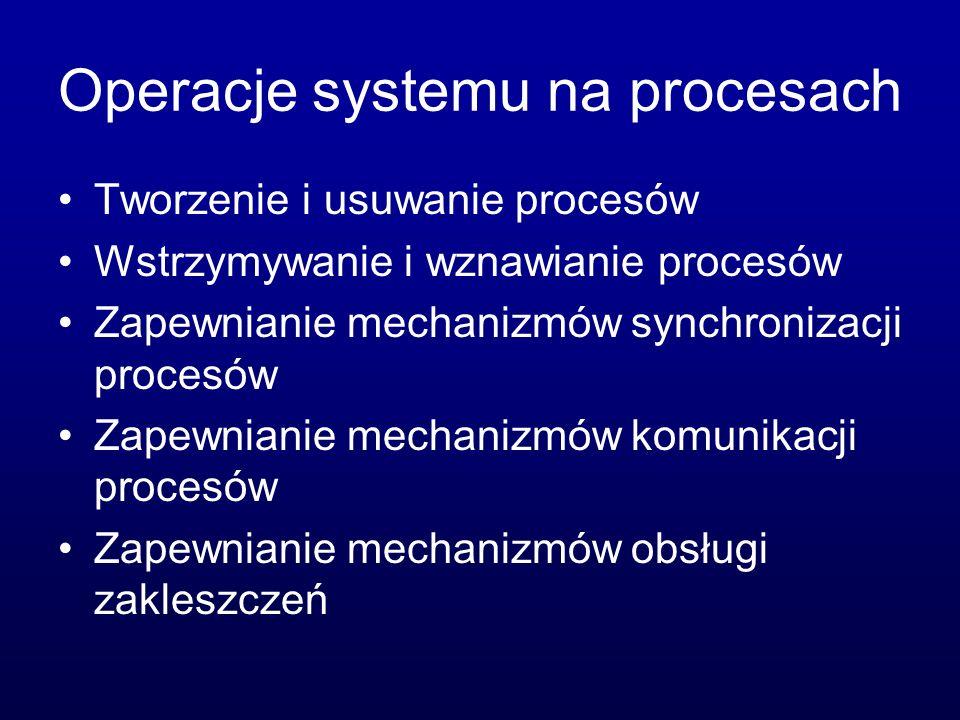 Usługi systemu operacyjnego Wykonywanie programu Operacje wejścia-wyjścia Operacje na systemie plików Komunikacja międzyprocesowa (IPC) Wykrywanie błędów Przydzielanie zasobów procesom Rozliczanie użytkowników Ochrona