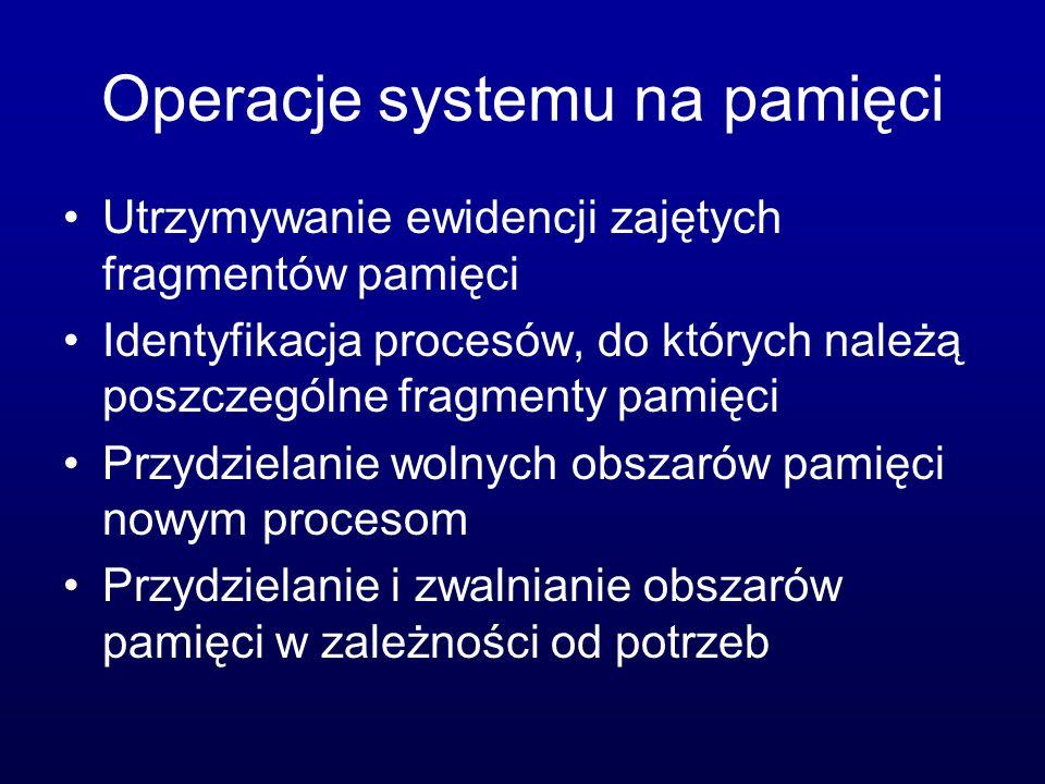 Systemy wielozadaniowe Przykład: Linux, Mac OS Proces może być wykonywany na pierwszym planie, lub w tle jądro Interpreter poleceń Wolny obszar Proces 1 Proces 2