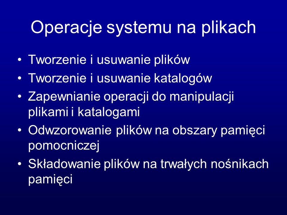 Oprogramowanie systemowe Zarządzanie plikami (tworzenie, usuwanie, drukowanie itp.) Informowanie o stanie systemu Modyfikowanie plików (edycja) Zaplecze dla języków programowania (kompilatory, interpretery) Ładowanie i wykonywanie programów (konsolidatory, moduły ładujące nakładki) Komunikacja (tworzenie i utrzymywanie połączeń między procesami)