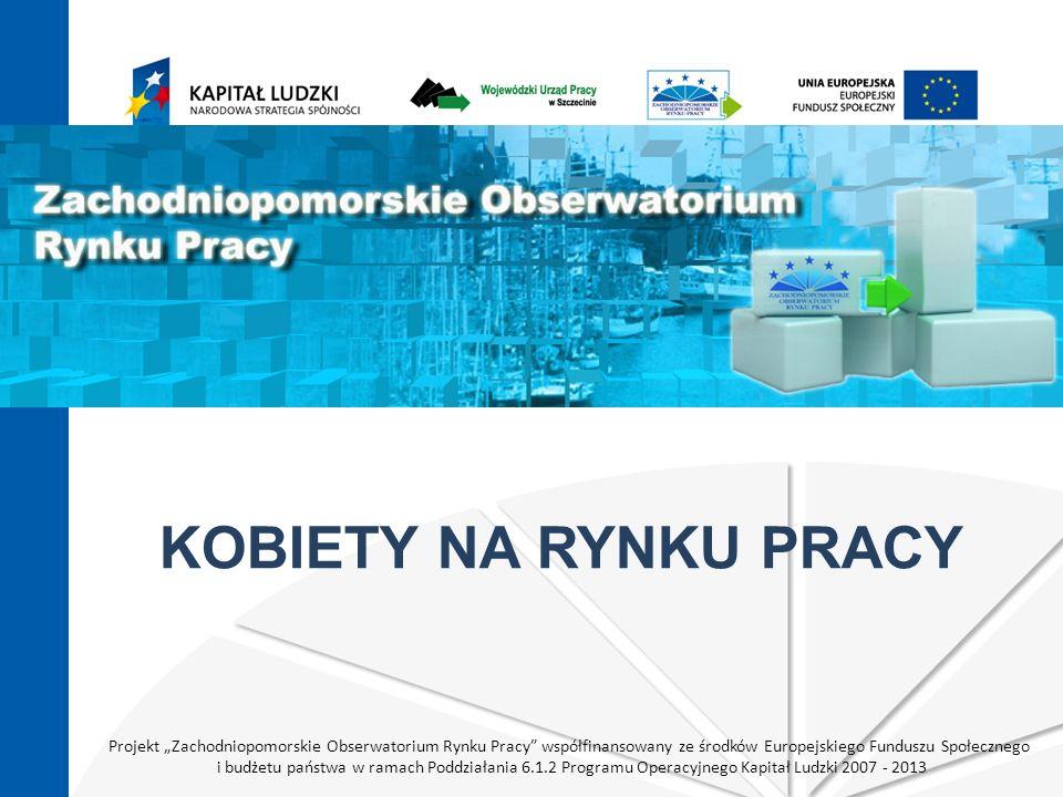 Projekt Zachodniopomorskie Obserwatorium Rynku Pracy współfinansowany ze środków Europejskiego Funduszu Społecznego i budżetu państwa w ramach Poddziałania 6.1.2 Programu Operacyjnego Kapitał Ludzki 2007 - 2013 KOBIETY NA RYNKU PRACY