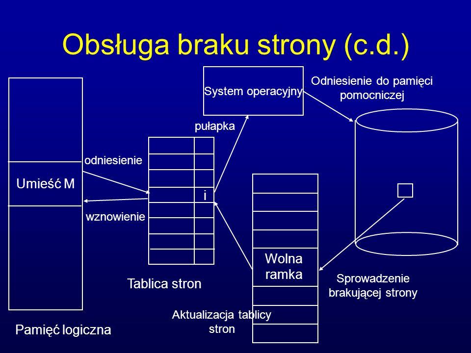 Obsługa braku strony (c.d.) Pamięć logiczna Tablica stron Umieść M i Wolna ramka System operacyjny odniesienie pułapka Odniesienie do pamięci pomocnic