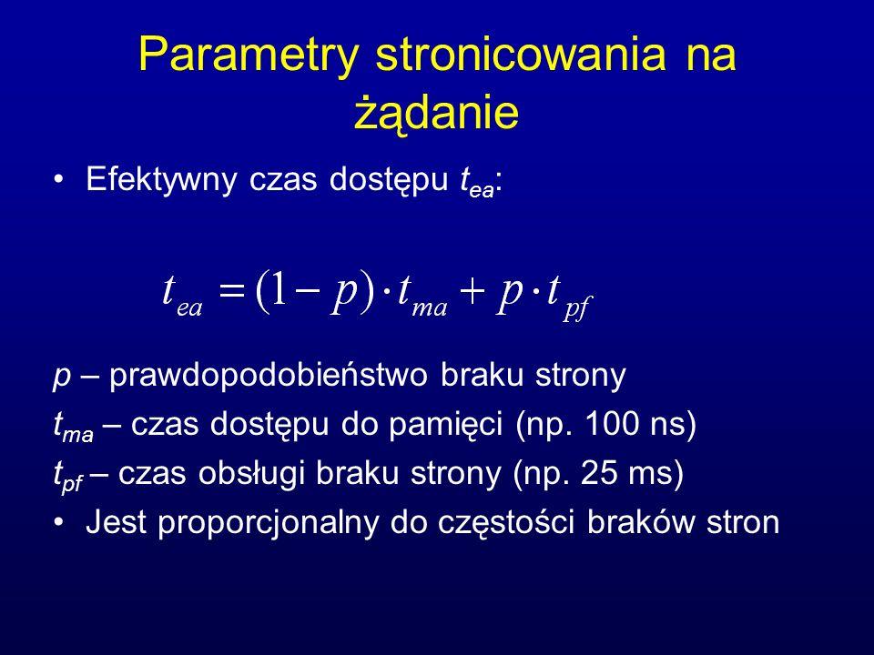 Parametry stronicowania na żądanie Efektywny czas dostępu t ea : p – prawdopodobieństwo braku strony t ma – czas dostępu do pamięci (np. 100 ns) t pf