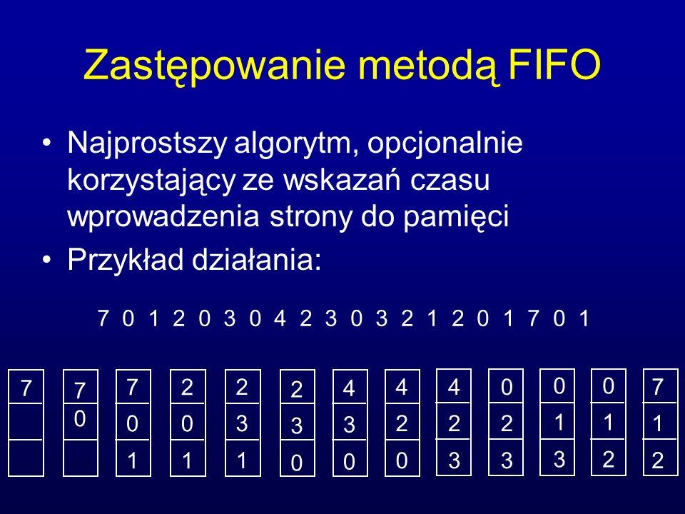 Zastępowanie metodą FIFO Najprostszy algorytm, opcjonalnie korzystający ze wskazań czasu wprowadzenia strony do pamięci Przykład działania: 7 0 1 2 0