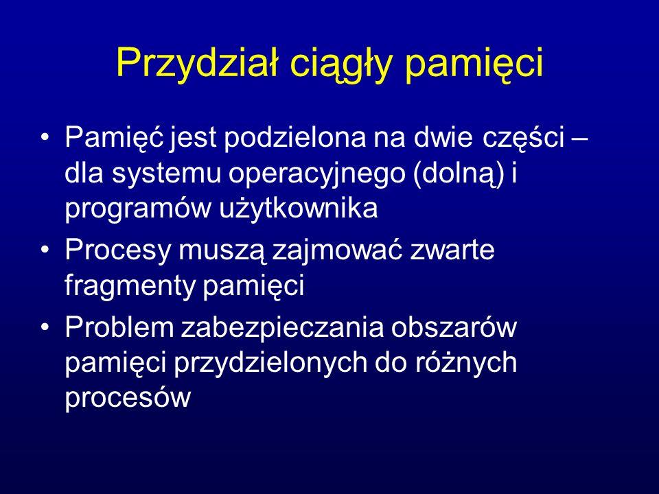 Przydział ciągły pamięci Pamięć jest podzielona na dwie części – dla systemu operacyjnego (dolną) i programów użytkownika Procesy muszą zajmować zwart