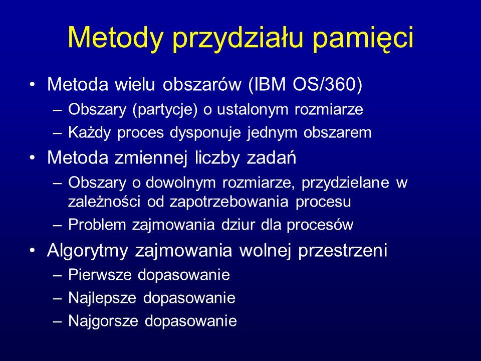Metody przydziału pamięci Metoda wielu obszarów (IBM OS/360) –Obszary (partycje) o ustalonym rozmiarze –Każdy proces dysponuje jednym obszarem Metoda