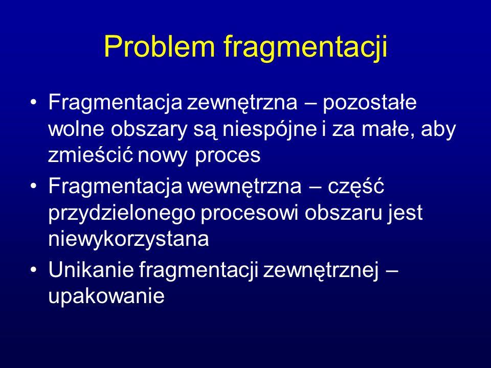 Problem fragmentacji Fragmentacja zewnętrzna – pozostałe wolne obszary są niespójne i za małe, aby zmieścić nowy proces Fragmentacja wewnętrzna – częś