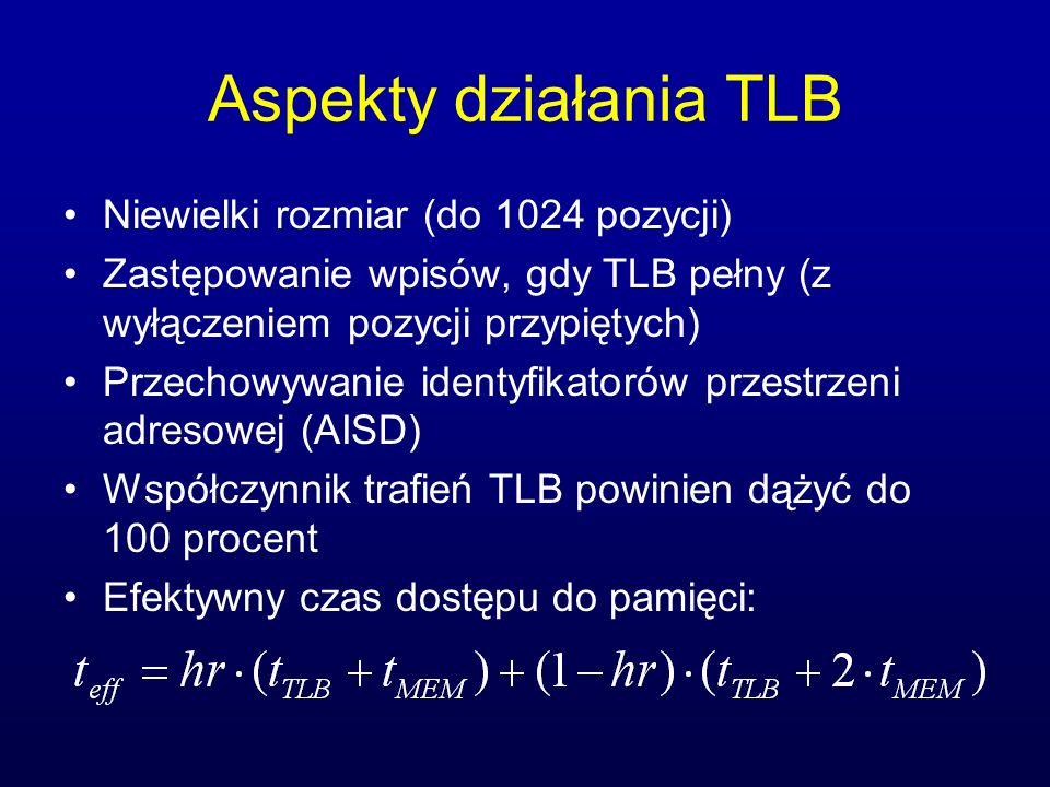 Aspekty działania TLB Niewielki rozmiar (do 1024 pozycji) Zastępowanie wpisów, gdy TLB pełny (z wyłączeniem pozycji przypiętych) Przechowywanie identy