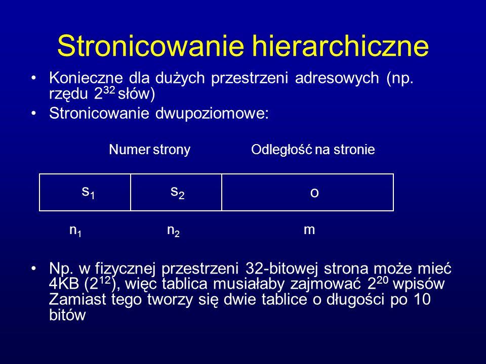 Stronicowanie hierarchiczne Konieczne dla dużych przestrzeni adresowych (np. rzędu 2 32 słów) Stronicowanie dwupoziomowe: Np. w fizycznej przestrzeni