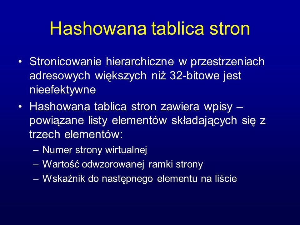 Hashowana tablica stron Stronicowanie hierarchiczne w przestrzeniach adresowych większych niż 32-bitowe jest nieefektywne Hashowana tablica stron zawi